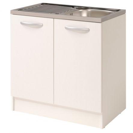 Base Cucina Sottolavello 2 Ante L80xp50xh87cm In Legno Melaminico Colore Bianco